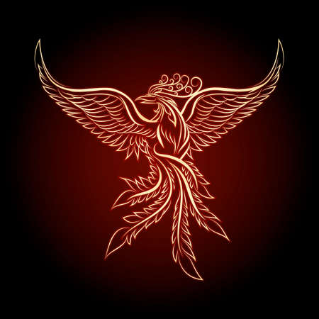 bird wing: Phoenix emblem drawn in vintage tattoo style. Illustration