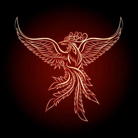 f�nix: Phoenix emblema dibujado en el estilo del tatuaje del vintage.