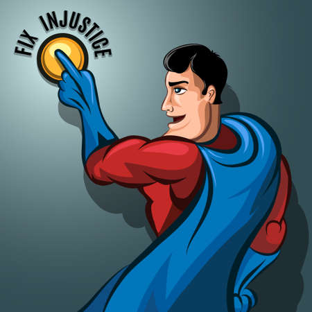 Humorous illustration of Superhero pushing the Justice button. Ilustração