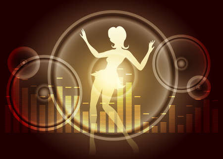 loud   speakers: Graphic equalizer with loud speakers and dancing silhouette on dark background. Illustration