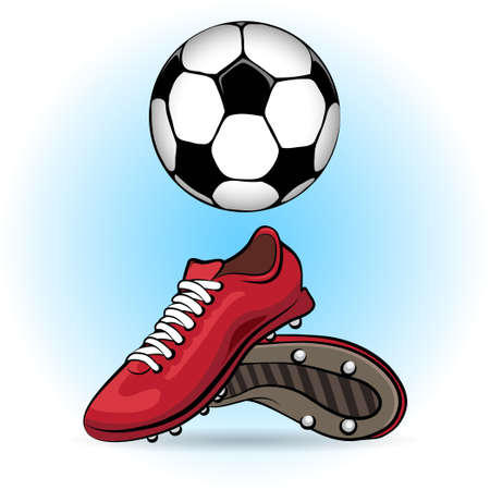 Sporting shoes and soccer ball drawn in cartoon style.