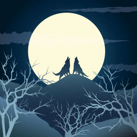 The howling wolves on a hill against full moon.