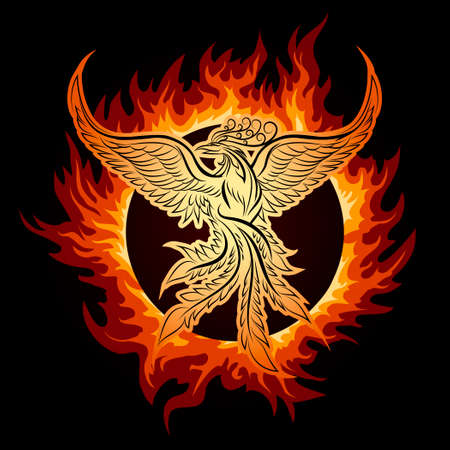 hell fire: The Phoenix flying in ring of fire.