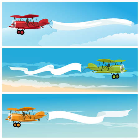 Set of flying airplanes with empty banners for your text. Isolated on white background. Illustration