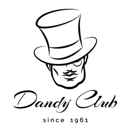 dandy: Dandy or Gentlemen Club or emblem. Only free fonts used. Isolated on white backround.