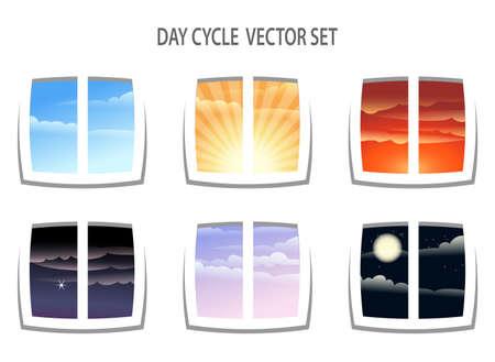 Set van zes kleurrijke daagse cyclus beelden. Verschillende tijdstippen van de dag vanuit het raam uitzicht. Geïsoleerd op een witte achtergrond.