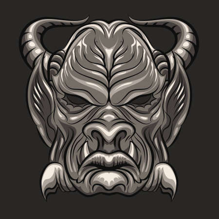 beastly: Ancient ritual mask of demon. No gradient used. Isolated on dark gray background.