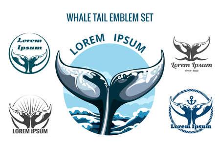 peces caricatura: Logo Cola de ballena o conjunto emblema. Sólo la fuente libre de utilizar. Aislado en el fondo blanco.