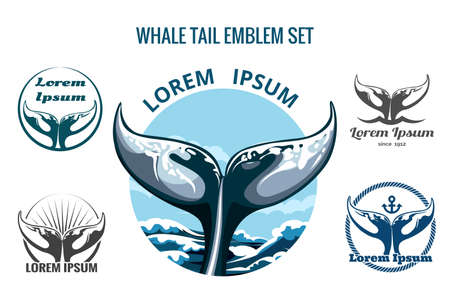 Whale tail logo or emblem set. Only free font used. Isolated on white background. Stock Illustratie
