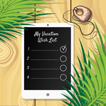 adder: Tablet with wish list and adder stone on wooden background. Illustration
