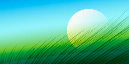 rising sun: Ilustraci�n colorida de la pradera verde y el aumento de sol.