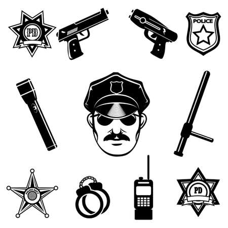 felony: Police icon set. Isolated on white background. Only free font used.
