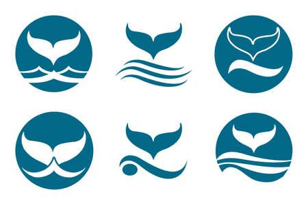 Whale tail monochrome logo set. Isolated on white background.