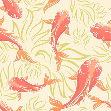 Seamless pattern with koi fishes and seaweed.