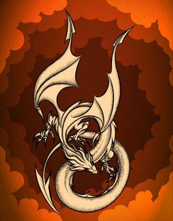 ciel rouge: Le dragon volant dans le ciel rouge. Illustration