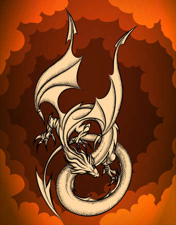 red sky: The Dragon flying in the red sky.