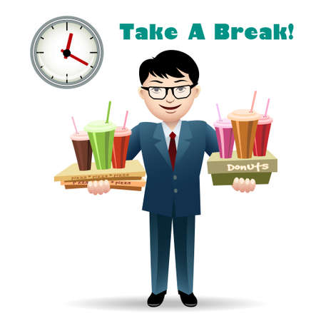 break in: Cheerful office worker with soft drinks, coffee, donuts and pizza. Isolated on white background. Only free font used.