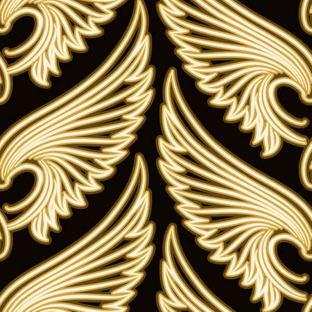 no gradient: Seamless pattern with golden sniny wings. No gradient used. Illustration