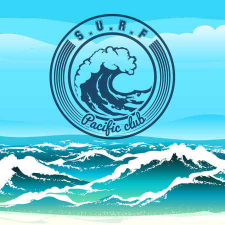 Surf club logo or emblem against stormy tropical seascape. Only free font used.