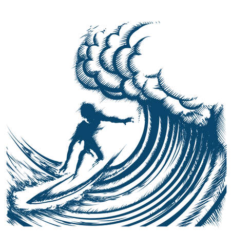 Surfer riding big wave drawn in retro engraving style. Isolated on white Background Ilustracja