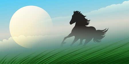 entice: Stallion running in a prairie against rural landscape.