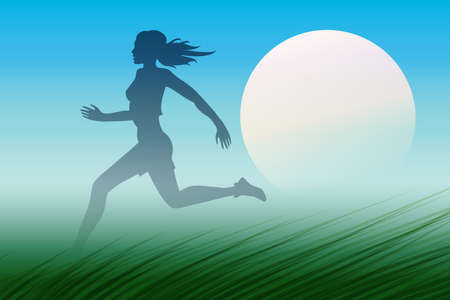 young woman running: Healthy Run Design template. Young woman running through a meadow early in the morning. Illustration