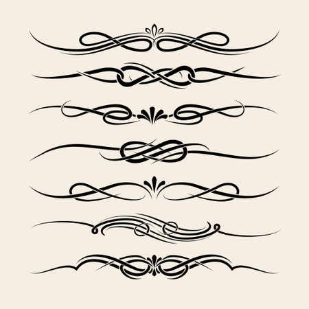 swash: Set of decorative vignette elements in vintage style. Headers, dividers or borders. Illustration