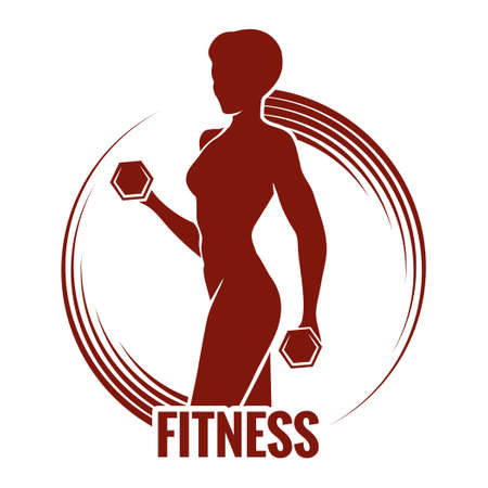 health and fitness: Fitness logo or emblem with muscled woman silhouettes. Woman holds dumbbells. Only free font used. Illustration