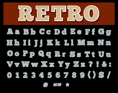 retro type: Retro type font, vintage typography style. Capital and lowercase letters, numbers etc. Isolated on black background.