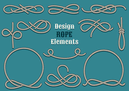Set of Rope Design elements. Drawn in vintage style. Knots and Loops. Only free font used. Vectores
