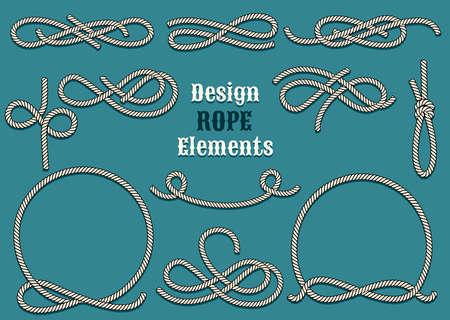 marinero: Conjunto de elementos de diseño de la cuerda. Dibujado en el estilo vintage. Los nudos y lazos. Sólo la fuente libre de utilizar.
