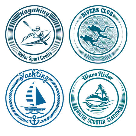 Set of Water Sport stamps or seal with design elements. Kayaking, diving, yachting and water scooter sport. Isolated on white background. No gradient used. Vector