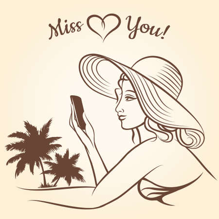 Girl on a beach using mobile phone for text messaging Miss You. 向量圖像