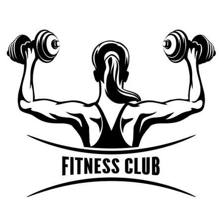 fitness: Fitness Club emblema con formazione muscoloso donna.