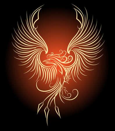 復活のシンボルとして飛ぶフェニックス鳥のイラスト。