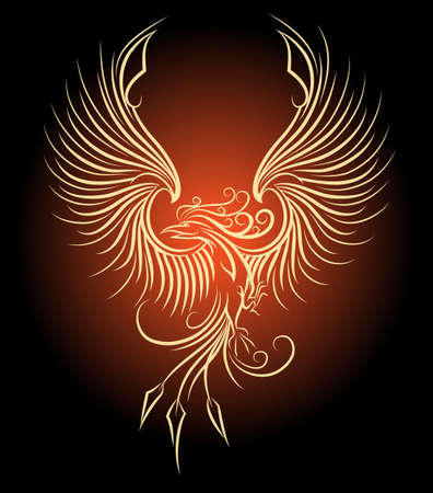 Illustration of flying Phoenix Bird as symbol of revival.