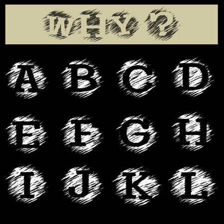 l hand: Hand draw grunge alphabet. Capital Letters from A to L. Isolated on black background.