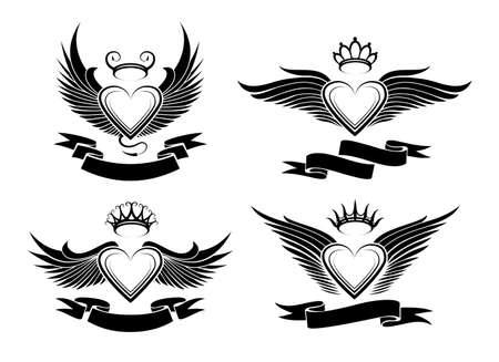 classic tattoo: Set of winged hearts in tribal style.