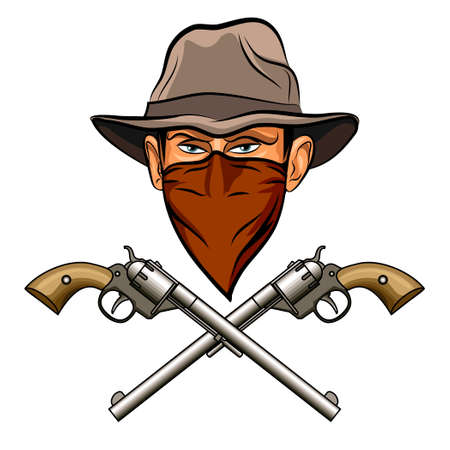 Bandit face in hat and bandana and two big guns. Isolated on white background. No gradients. Ilustrace