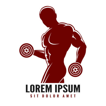 Fitness or Gym logo with muscled man silhouette. Man holds dumbbells. Illustration