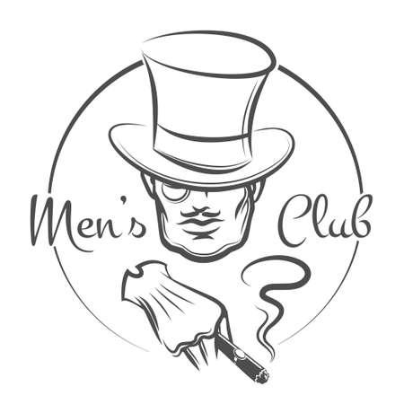hombre con sombrero: Logo Mens Club o emblema. El hombre en el sombrero fuma un cigarro. Monocromo aislado sobre fondo blanco. Sólo la fuente libre de utilizar.