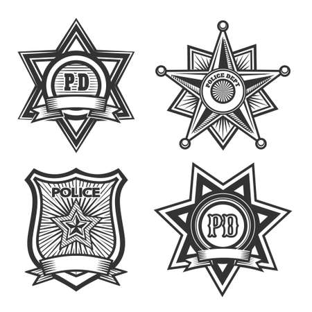 Police badges set. Monochrome isolated on white background. Only free font used.