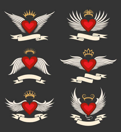 Heart with wings set. Heart symbol collection with ribbon for your text. Isolated on dark background. photo