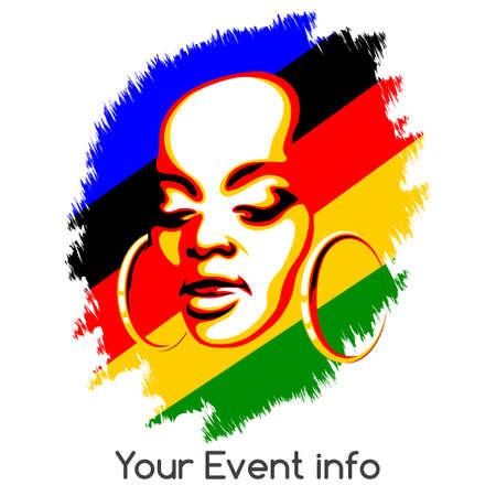 Afrikaanse vrouw gezicht tegen kleurrijke grunge achtergrond. Poster stijl illustratie met lege ruimte voor informatie. Geïsoleerd op een witte achtergrond.