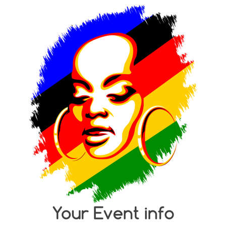 African woman face against colorful grunge background. Poster style illustration with empty space for information. Isolated on white background.