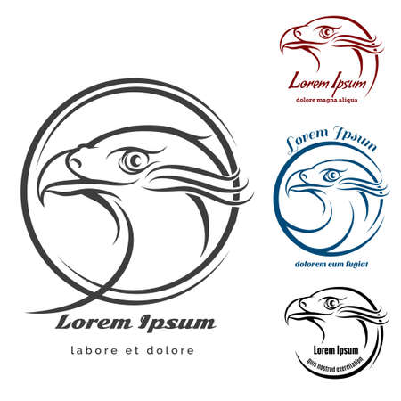 Eagle head emblem or Logo set. Monochrome signs isolated on white background. Only free font used.