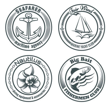 Set of vintage nautical stamps or  labels. Anchor, sailship, seashell and fish. Only free font used. Isolated on white background. 일러스트