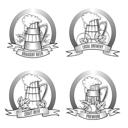Set of Beer mugs and hop leaves emblem with ribbon. Engraving style. Free font Oswald used. isolated on white background. Illustration