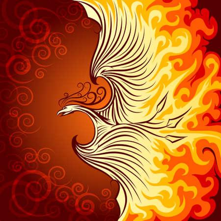 Decorative illustration of flying phoenix bird. Phoenix in burning flame.