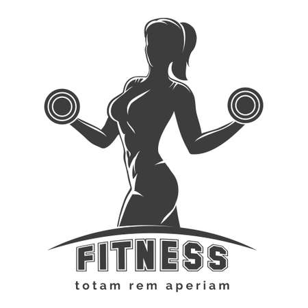 Fitness club logo or emblem with woman silhouette. Woman holds dumbbells. Isolated on white background. Free font SF Collegiate and Raleway used. Illustration
